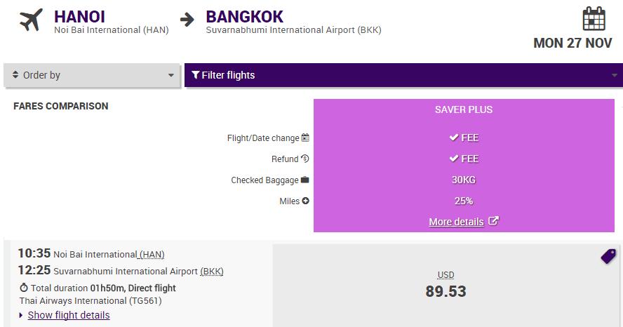 Vé Hà Nội - Bangkok giá rẻ