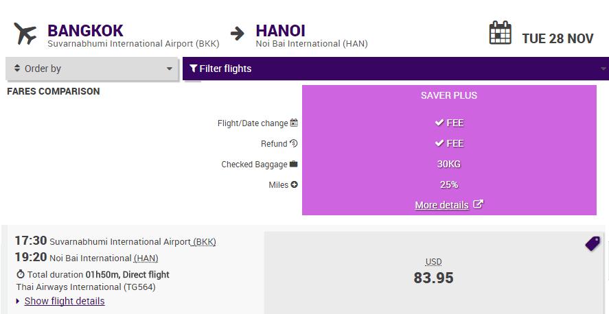 Vé Bangkok - Hà Nội giá rẻ