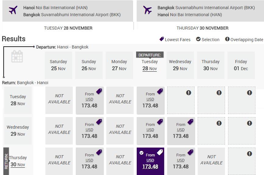 Bảng giá vé KM Thai Airways