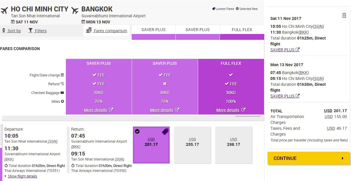 Vé khứ hồi chi tiết Hồ Chí Minh - Bangkok giá rẻ